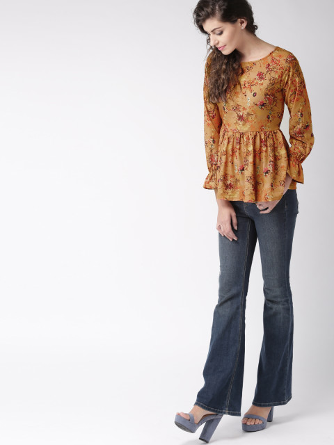 11474268218175-MsTaken-Women-Mustard-Printed-Peplum-Top-3001474268217573-4